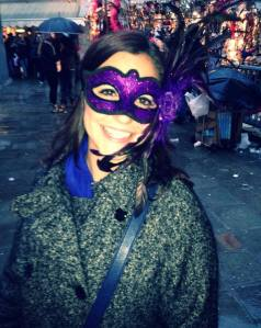 My purple feathery mask!
